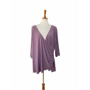 Kiyonna Elbow Sleeve Faux Wrap Top Purple Size 3